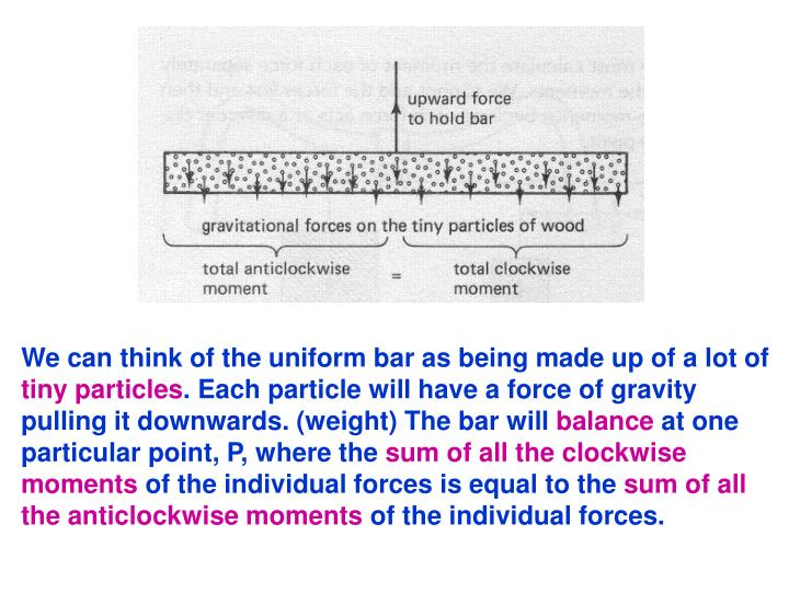 We can think of the uniform bar as being made up of a lot of