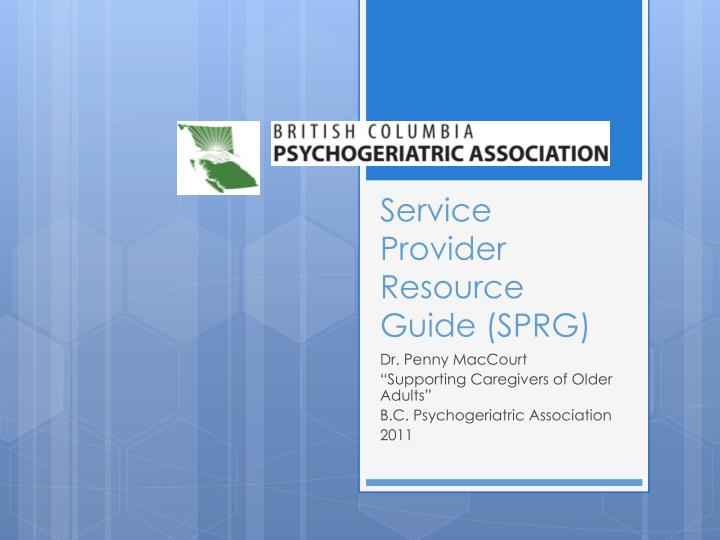 service provider resource guide sprg n.