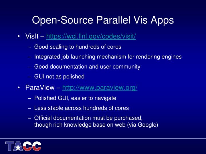Open-Source Parallel Vis Apps