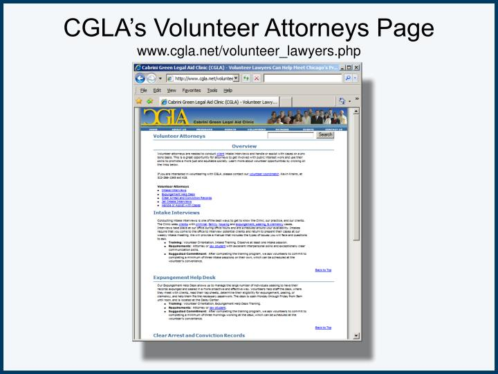 CGLA's Volunteer Attorneys Page