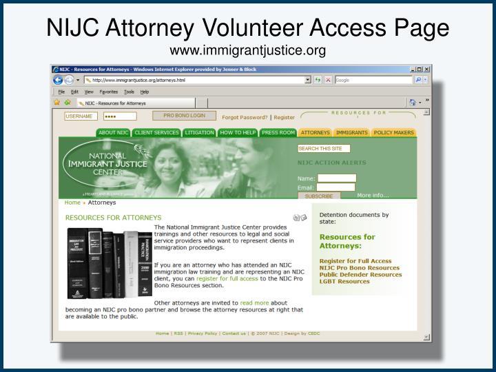 NIJC Attorney Volunteer Access Page