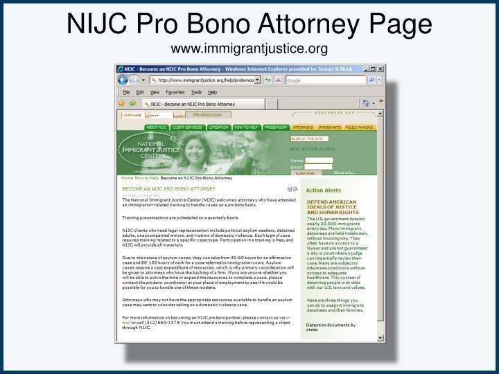 NIJC Pro Bono Attorney Page