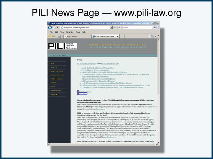 PILI News Page — www.pili-law.org