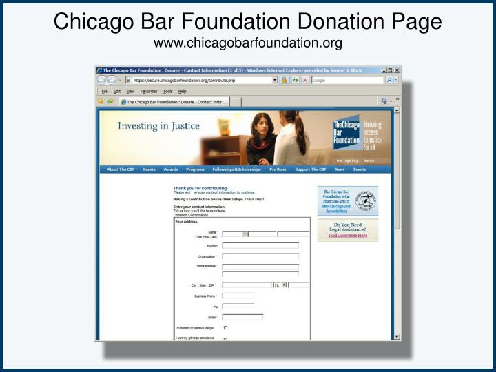 Chicago Bar Foundation Donation Page