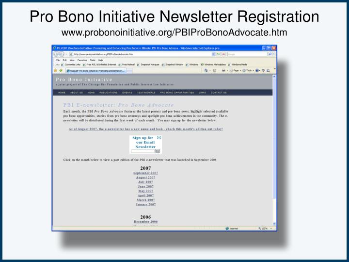 Pro Bono Initiative Newsletter Registration