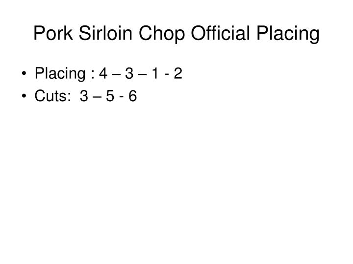 Pork Sirloin Chop Official Placing