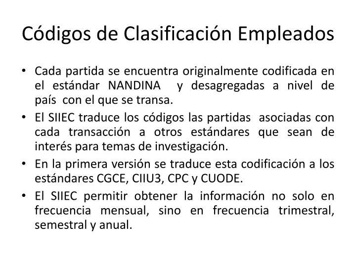 Códigos de Clasificación Empleados