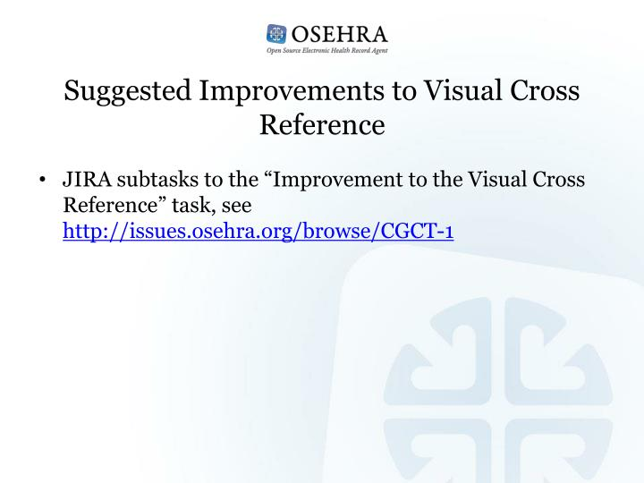 Suggested Improvements to Visual Cross Reference