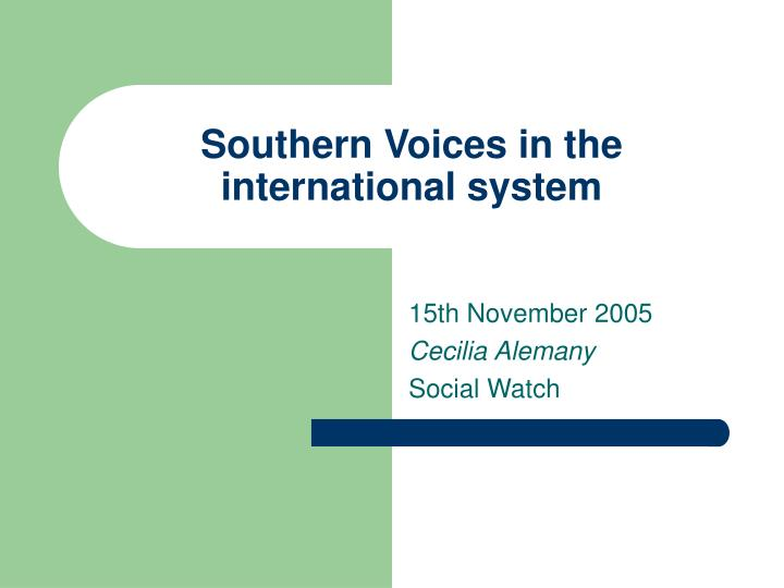 southern voices in the international system n.
