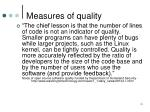 measures of quality