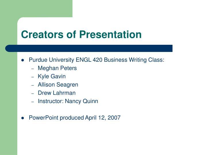 Creators of Presentation