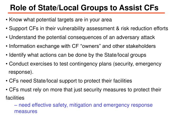 Role of State/Local Groups to Assist CFs