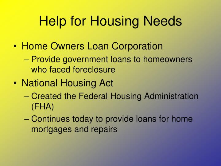Help for Housing Needs