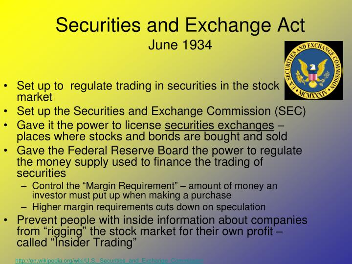 Securities and Exchange Act