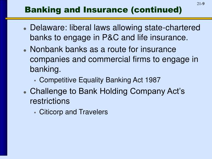 Banking and Insurance (continued)