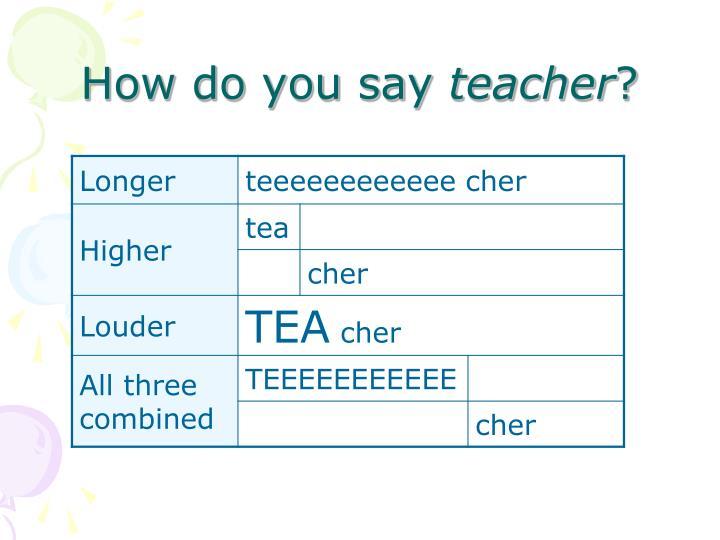 How do you say