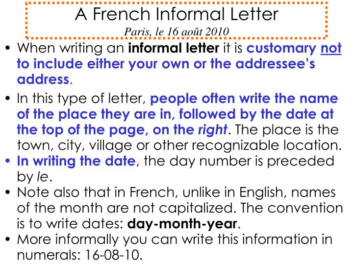 writing a cover letter in french ppt a informal letter le 16 ao 251 t 2010 25802 | a french informal letter paris le 16 ao t 2010 n