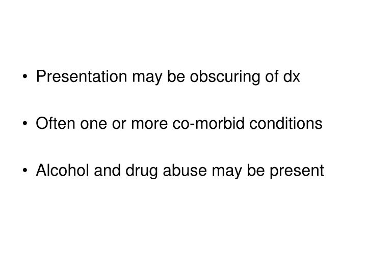 Presentation may be obscuring of dx