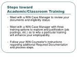 steps toward academic classroom training