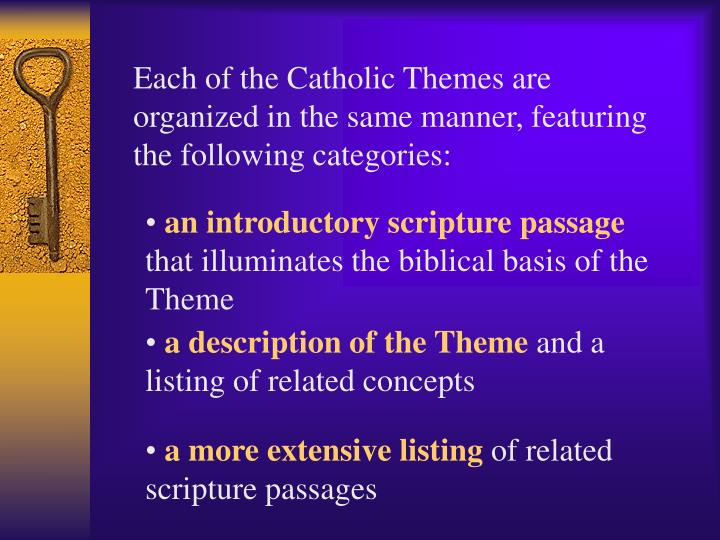 Each of the Catholic Themes are organized in the same manner, featuring the following categories: