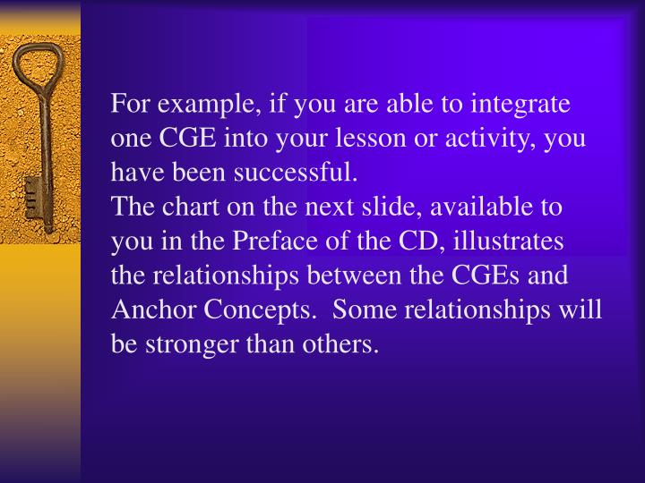 For example, if you are able to integrate one CGE into your lesson or activity, you have been successful.