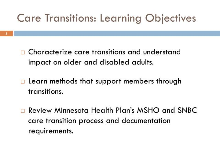 Care transitions learning objectives
