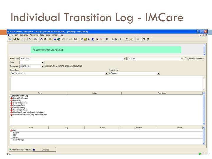 Individual Transition Log - IMCare