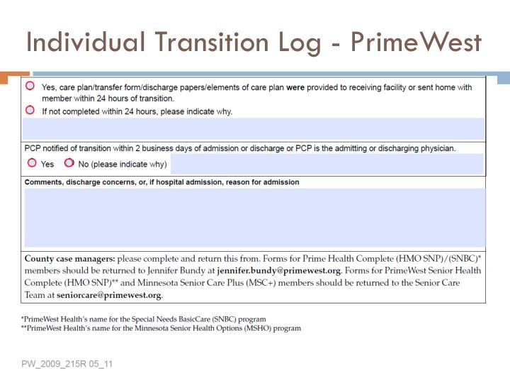 Individual Transition Log - PrimeWest
