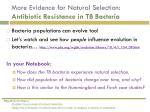 more evidence for natural selection antibiotic resistance in tb bacteria