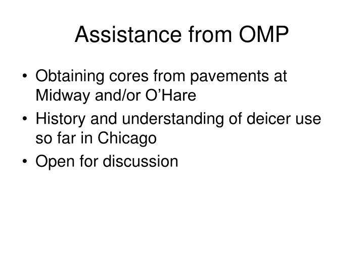Assistance from OMP