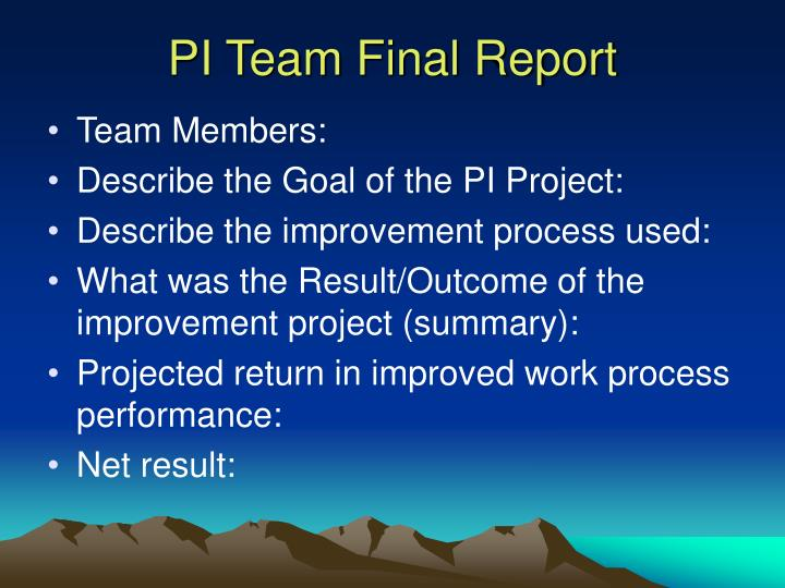 PI Team Final Report