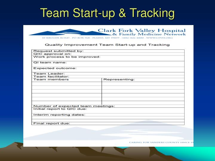 Team Start-up & Tracking