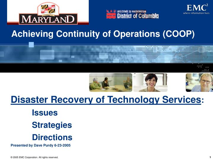 achieving continuity of operations coop n.