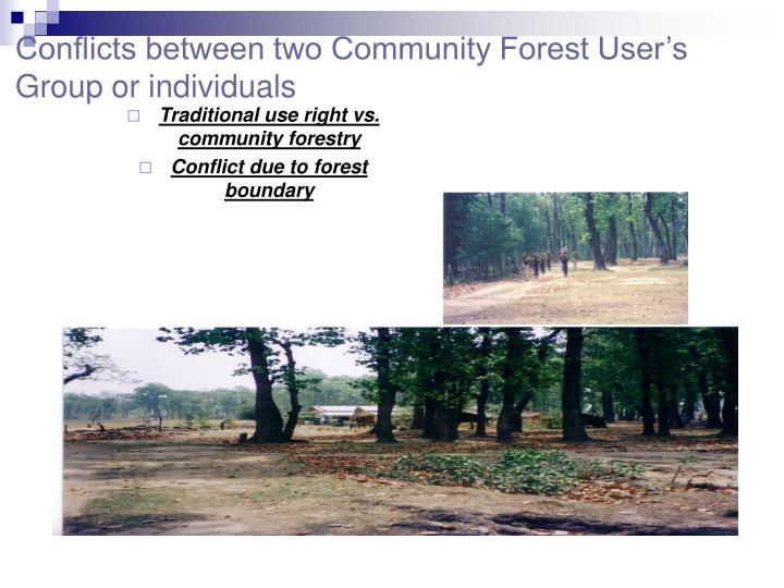 Conflicts between two Community Forest User's Group or individuals