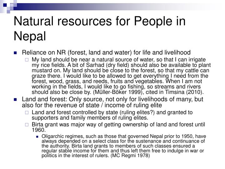 Natural resources for People in Nepal