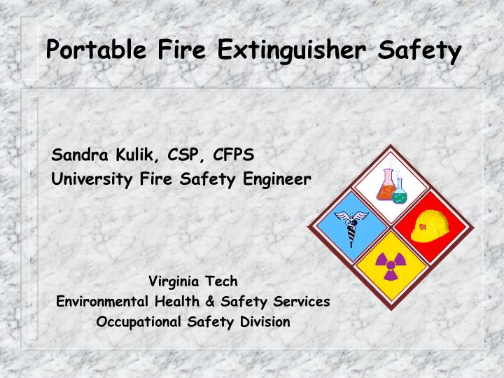 portable fire extinguisher safety n.