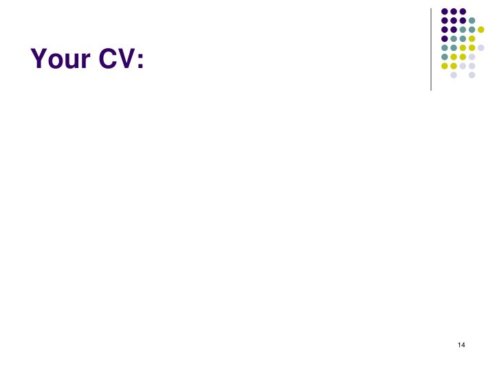 Your CV: