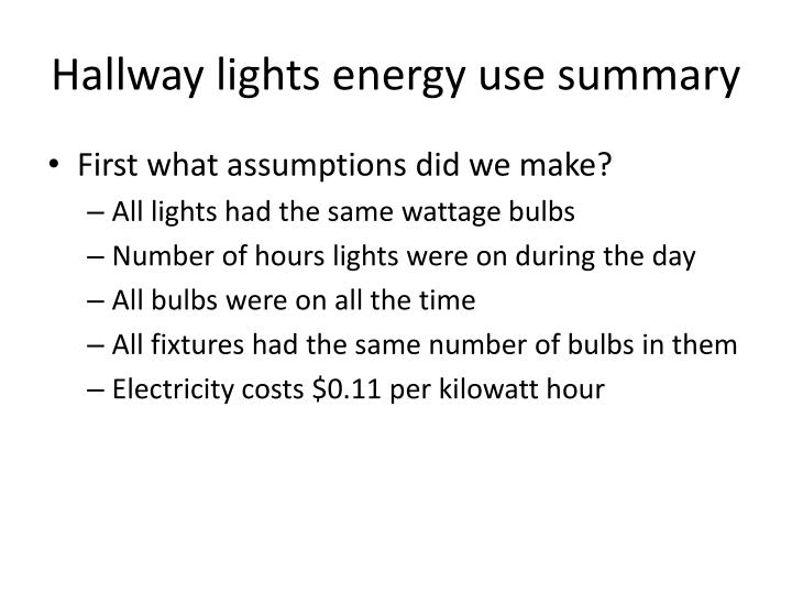 hallway lights energy use summary n.