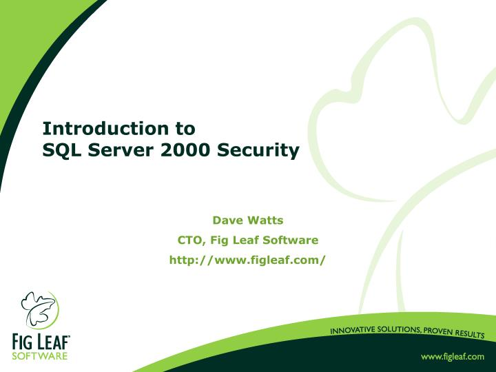 introduction to sql server 2000 security n.