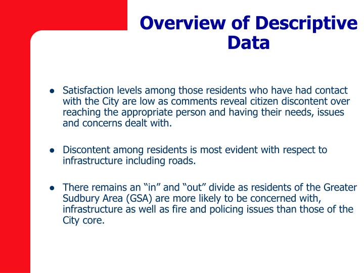 Overview of Descriptive Data