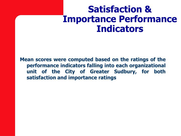 Satisfaction & Importance Performance Indicators