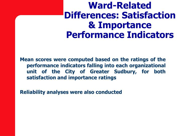 Ward-Related Differences: Satisfaction & Importance Performance Indicators