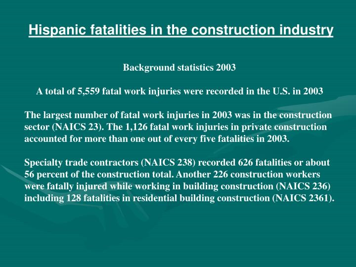 Hispanic fatalities in the construction industry