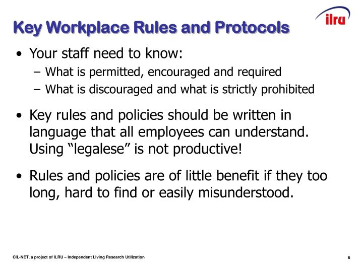Key Workplace Rules and Protocols