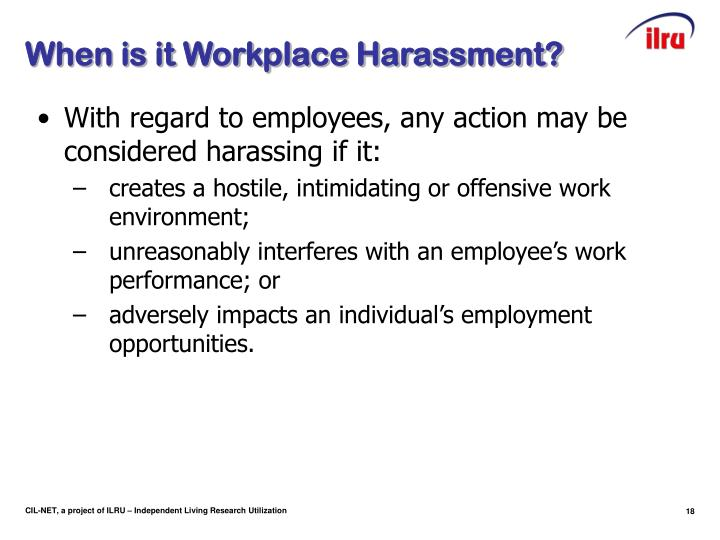 When is it Workplace Harassment?