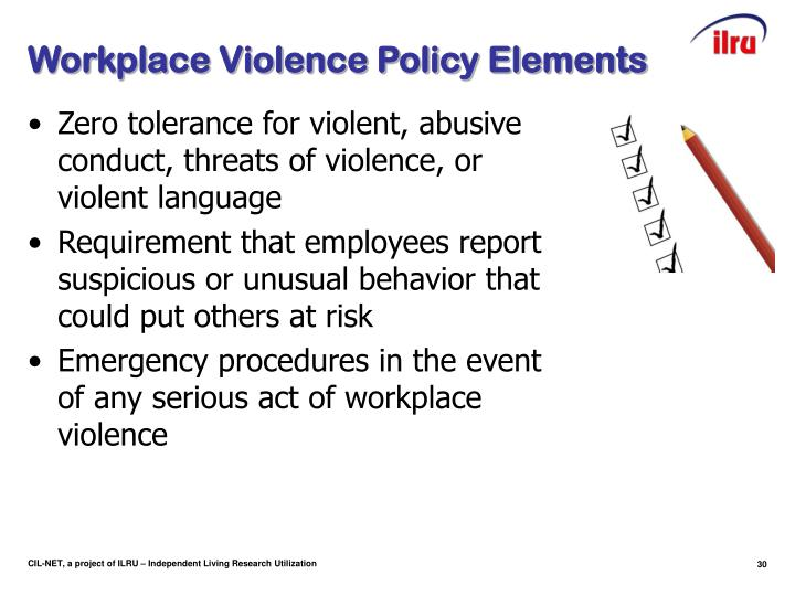 Workplace Violence Policy Elements