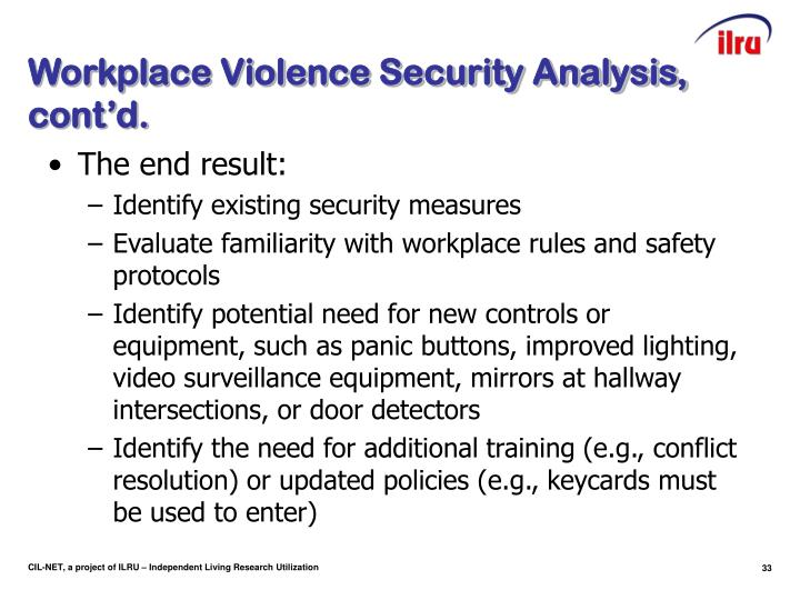 Workplace Violence Security Analysis, cont'd.