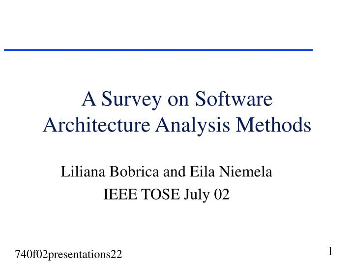 a survey on software architecture analysis methods n.