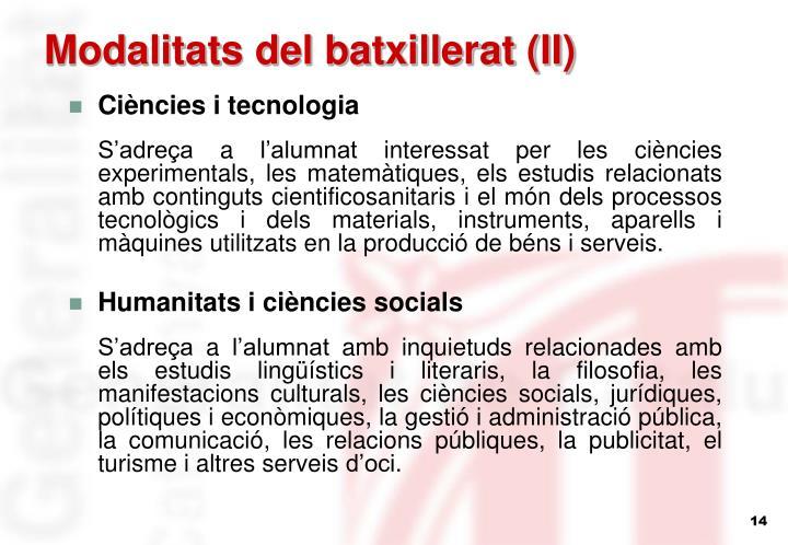 Modalitats del batxillerat (II)