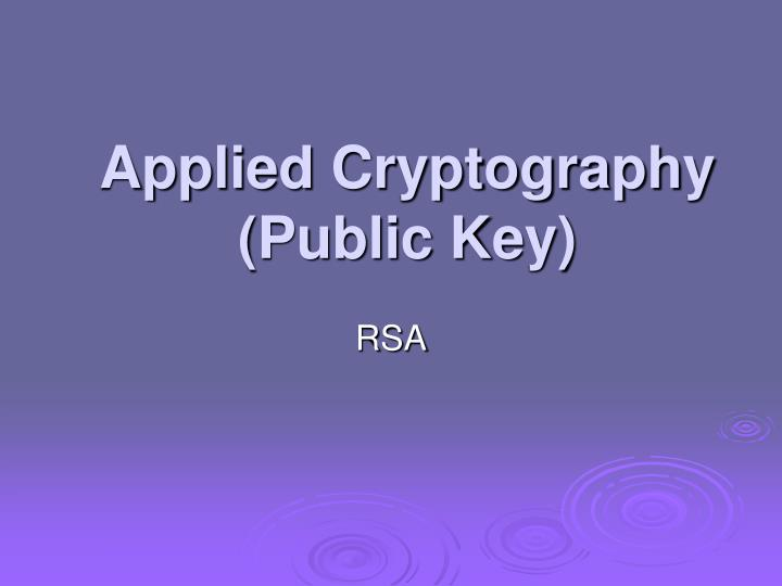 Applied cryptography public key